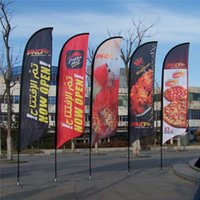 Wholesale Single Side Feather Flag Banners x410cm Beach Flags with Screw or Spike Feet Outdoor Advertising Flying Banners POS