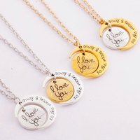 Wholesale Cheap Engraving Gifts - statement necklaces engraving pendants Hip Hop High Quality Cheap Jewelry I Love You Sun Moon Necklaces 925 Silver 24K Gold Chains Necklaces