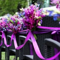 Wholesale 2016 Artificial Bridal Flowers Bouquet Ribbons Silk Chairs Covers Ribbons Favors Colors New Wedding Decorations JM0235