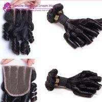 Wholesale Brazilian Human Hair Free Part Lace Closure With Hair Bundles Unprocessed Human Hair Extension Funmi Curl