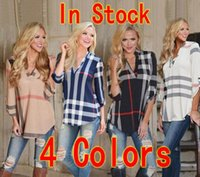 Wholesale Ladies Blouses For Spring - Hot sale 2016 lady blouses 4 Colors autumn&spring long sleeves T-shirt for women plaid Striped shirt size S-3XL DHL Free Shipping