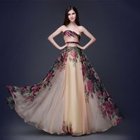 Wholesale 2016 new printed flower chiffon strapless derss evening derss