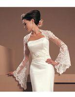 Wholesale Hot Sale Made to Order Long Sleeves Sexy Keyhole Back Wedding Jacket Tulle Lace Bolero for Bride