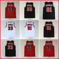 Wholesale Scottie Pippen Jersey Dennis Rodman Throwback Retro Jerseys White Red Black Stripes S XXL Available