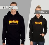 america west - Thrasher skateboard flame autumn and winter in Europe and America tide brand Harajuku dead fly on the West Coast hip hop high quality hoodie