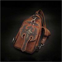 Wholesale Cheap Travel Bags For Men - Cool Travel Shoulder Bags Portable Personalized PU Leather Handbags for Men Cheap Vintage Mobile Phone Shoulder Bags