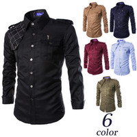 army dress uniforms - New casual men outdoor multi pocket uniforms badges long sleeved military style Slim Men business Dress shirt camisas hombre