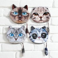 bag for cats - 2016 new coin purses wallet ladies D printing cartoon fashion cat animal big face fashion cute zipper square bag for women colors