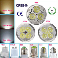 Cheap CREE Led Spot Bulbs LED Bulbs LED Light 9W 12W 15W E27 MR16 GU10 Led Dimmable Lights Free Shipping