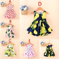 Cheap 5 Color Girl Summer Lemon bowknot dot Sling Dress Children Cartoon Print sleeveless vest Lemon leaf princess dresses B001