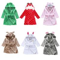 Wholesale 8styles Children Cartoon animal Hoodie Coral Fleece Bathrobe Unisex Kids cute animal Robe Pajamas Sleepwear Flannel Night gown Fall Winter
