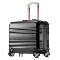 bar luggage - Brand New18 inch Women Bording Luggage Carry On School Bags Suitcase Magal Trolley Bags Metalic Aluminium Draw Bar Box Spinner