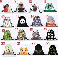 Wholesale New D Print Emoji totoro Backpacks Kids Men Women cartoon animal Drawstring Bags Kids Toys Pouch Shopping Bags Children Beach Bags styles