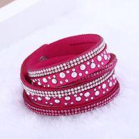 Wholesale Fashion women jewelry Multilayer Leather Button Punk Bracelet crystal rhinestone leather Charm bracelet wrist band punk style