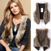 Wholesale New Hot Brand Winter Spring Women short Vest Coats Vintage Faux Fur Vests For Women Fur Gilet open short sleeveless