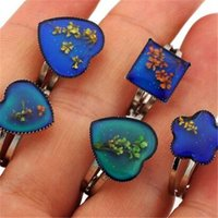 Wholesale 100 Adjustable Size Mood Rings Changes Color With Dried Flowers Inside To Your Temperature Reveal Your Inner Emotion
