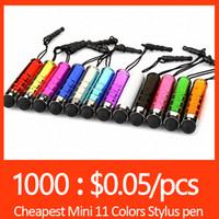 Wholesale Mini Stylus Touch Screen Pen With Anti Dust Plug For S7 edge S6 S6 edge iPhone SE Plus Capacitance Colors Tablet PC Capacitive Stylus