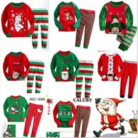 Wholesale New style children s Christmas pajamas children s long sleeve cotton clothing cartoon character for age years A2010019