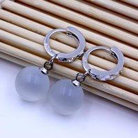 Wholesale 925 sterling silver ityems jewelry hoop earrings clear pure cat eye stone wedding vintage woman earrings