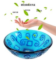 Wholesale Wash basin Glass Products Bathroom Cleaning Arts Home Decoration Sink Blue Pattern China blue flower decoration Double glazing structure