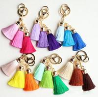 Wholesale 2017 New Style Handmade Chinese Tassel Keychain car Decoration Key Chains Women Bag Charm Keyrings
