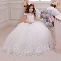 baby girl holiday dress - Ivory Lace Flower Girl Dress Jewel Applique Wedding Party Bridesmaid Holiday Birthday Ivory Tulle Lace Baby Princess Flower Girl Dress