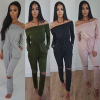 amp sleeve - women for jumpsuits plus size Autumn And Winter Solid Color Strapless Long Sleeve Bandage Even Clothes Trousers Goods Multicolor amp rompers