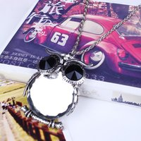 american transportation - XL5985 European and American fashion Gem confirmed color restoring ancient ways Lovely big crystal owl Sweater chain Free transportation