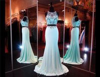 Cheap Aqua Crop Top Prom Dress Two Piece High Beaded Neckline Beading Mermaid Evening Dress Illusion Back Chiffon Pageant Dress