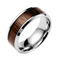 accessories wood fashion - Men s Fashion Rings Stainless Steel Inlaid Teakwood Cool Boy Accessories NO3206