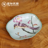 arts and crafts supplies - Hand Painted Ceramic Soap Dishes Bathroom Supplies floral and birds pattern Soap Dish Original Chinese Art and Crafts