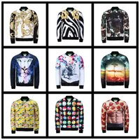 big mens sportswear - Fall Men Flower Printed Jacket Mens Casual Floral Big Size Outwear Jackets Zipper Coats Jaqueta Masculina Outdoors Sportswear Coat