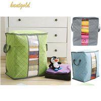 bamboo fibre fabric - Durable Zipper Foldable Blanket Quilt Clothes Storage Container Bamboo Fibre Case Box Bag organizer