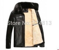 Wholesale Fall New winter in elderly men s leather jacket coat lapel collar PU leather texture thickening