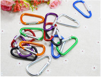 aluminium hangers - DHL FAST shipping cm D shaped Aluminium alloy carabiner key ring for outdoor Bottle Hook Camping Hiking Keychain
