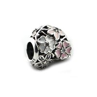 Wholesale 2016 NEW Spring Sterling Silver Beads Poetic Blooms with Clear CZ Fits Pandora Style Bracelets