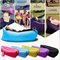 Wholesale 250 cm Portable Camping Lounger Sofa Inflatable Sleeping Bag Beach Hangout Lazy Air Bed Folding Sofa Beach Sleeping Bed CCA4904