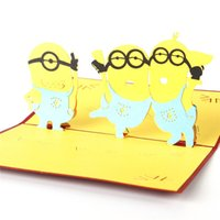 baby shower greeting cards - Hot sales Cute Despicable Me Minions D Handmade Creative Pop Up Greeting Cards for Baby Shower Invitations Favors
