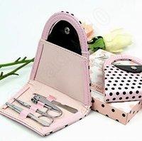 Wholesale 300Sets Pink Polka Dot Purse Bag Clipper Pedicure Manicure Set Kit Tools Finger Nail Clippers Scissors Tools Gift LLA80