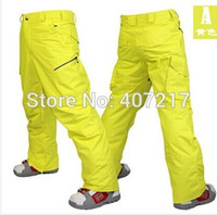 Wholesale mens yellow ski pants blue snowboarding pants for men green sports snow pants black waterproof K windproof free ship