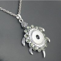 turtle pendant - 60 MM Noosa Cute Little Turtle Rhinestone Pendant Necklace With DIY Snap Alloy Charm with cm Chain Fashion Jewelry Gift For Women