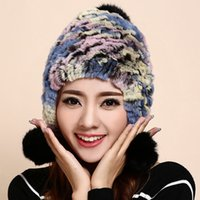Wholesale Winter Skullies Ear Flap Beanies Hat Women Genuine Knitted Natural rainbow colorful Stripe Rex Rabbit Fur Hats Russian Hat