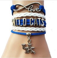 leather pieces - Pieces Infinity Love NCAA Kentucky Wildcats Sports Team Bracelet Blue White Custom Sports Cheer Bracelet Drop Shipping