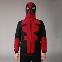 Wholesale 2016 Black Cosplay Deadpool Hoodie Costume Adult Men Hoodies Sweatshirts