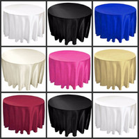 Wholesale 108 quot white black color Satin Table Cloth Round Satin Tavle Cover for Banquet Wedding Party Decoration Supplies High Quality