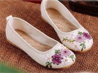 beijing hot springs - Hot Sale Spring and summer national wind linen embroidered shoes old Beijing cloth shoes bridal shoes flat shoes mom shoes handmade ribbon