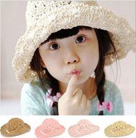 bamboo folding hat - Fashion New Women s Hat Wide Large Brim Floppy bohemia Japan s Beach folded children Beach Hollow Sun Straw Hat Cap