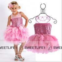 baby light shine - Shining Sequined Short Flower Girls Dresses with Jewel Neck Sleeveless Custom Made Mini Tiered Tulle Skirt Baby Toddler s Pageant Wear