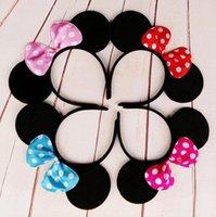 Wholesale Dot Bow Ear Headband Hair Sticks Mickey and Minnie mouse ears headband girl boy kids birthday party supplies decorations