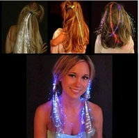 Wholesale Colorful Flash Braid Hair Luminous LED Hairwear Headdress Masquerade Festival Props Light Up Fiber Optic Hair Pigtail Christmas Gift